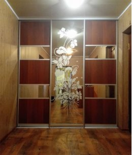 Двери-купе в кладовку с пескоструйным рисунком