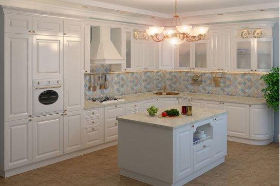 Белая классическая кухня материал эмаль