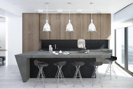 Кухня черная с деревом