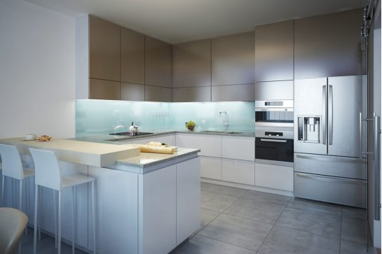 Кухня современная с матовыми белыми фасадами