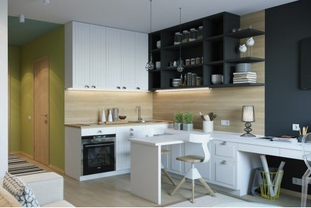 Совмещенная современная кухня в студию