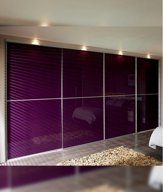 Встроенный шкаф купе со стеклом лакобель