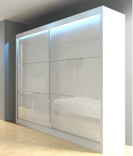 Белый шкаф купе в спальню глянцевый