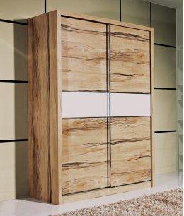 Угловой шкаф купе в спальню в натуральном шпоне с кожей
