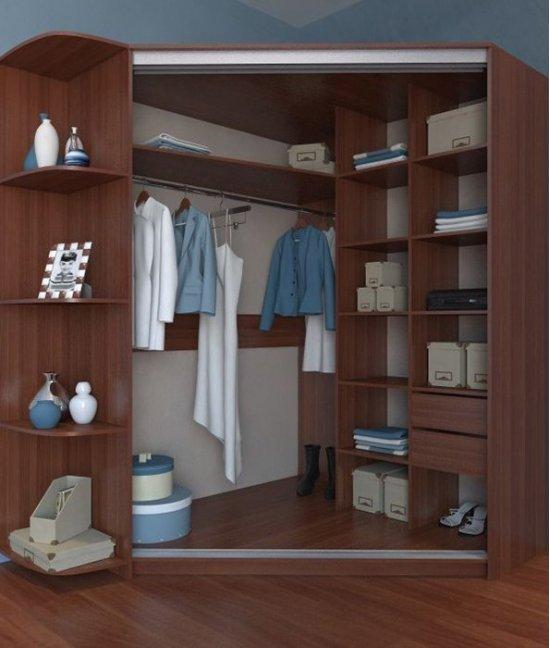 Угловой гардеробный шкафы купе