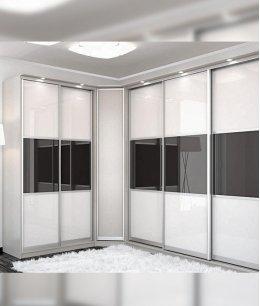 Угловой шкаф купе белый со стеклом лакобель