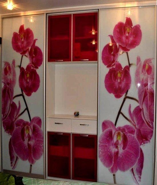 Шкаф купе с фотопечатью орхидеи