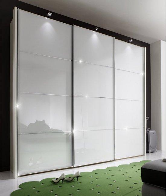 Встроенный шкаф купе белый глянец