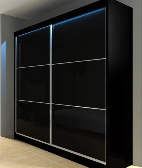Шкаф купе черный глянец