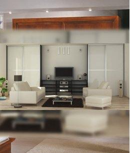 Шкафы купе в гостиную с телевизором белый